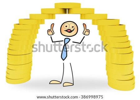 Stick figure with a bridge made of money - stock photo