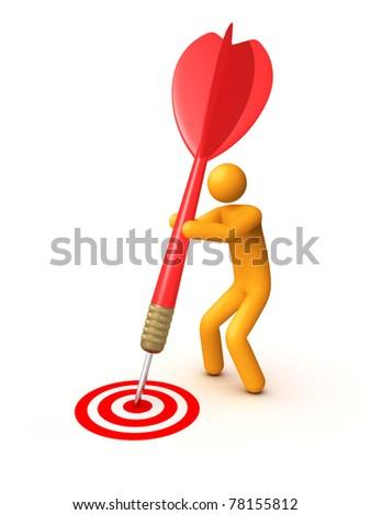 Stick figure with dart - stock photo