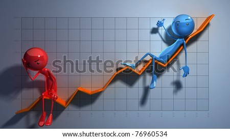 Stick Figures - Chart - stock photo