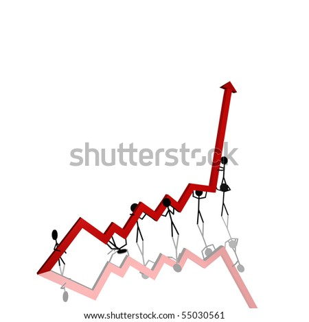 Stick figures holding up a 3D chart. - stock photo