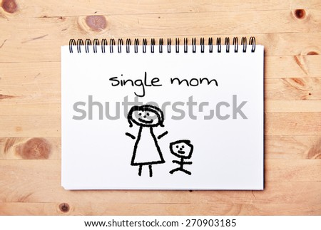 stick man background - drawing block - single mom - stock photo