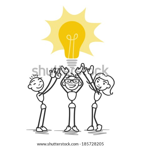 Stick man: Group of collaborating stick figures holding up light bulb, teamwork. - stock photo
