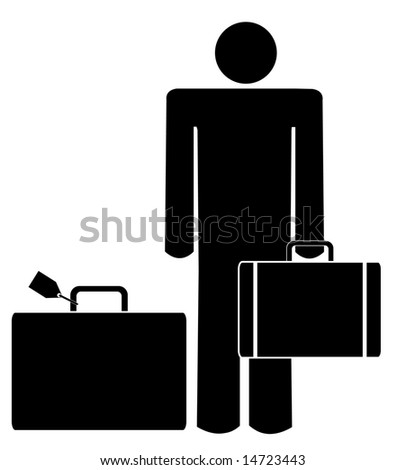 stick man or figure with briefcase and luggage - stock photo