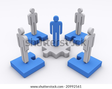 Stick man standing on puzzle pieces with a blue leader in the center. Concept of teamwork, leadership, cooperation,... - stock photo