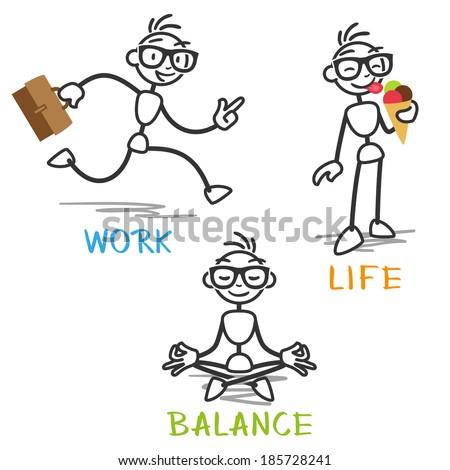 Stick man: Stick figure depicting work life balance. - stock photo