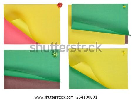 stick note isolated on white background. Colored sheets of paper isolated on white background. - stock photo
