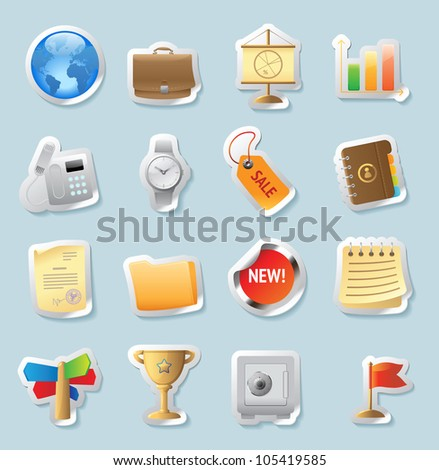 Sticker button set. Icons for business and finance. Raster version. Vector version is also available.