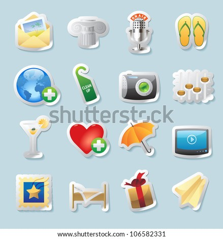 Sticker button set. Icons for entertainment, travel and arts. Raster version. Vector version is also available.