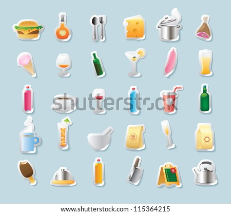 Sticker button set. Icons for food and drinks. Raster version. Vector version is also available. - stock photo