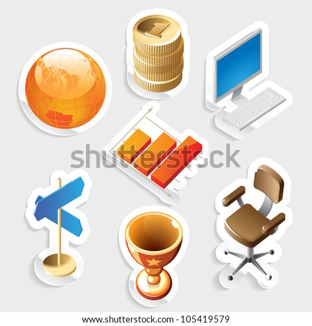 Sticker icon set for business and money.  Raster version. Vector version is also available. - stock photo