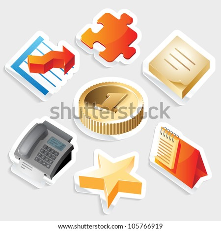 Sticker icon set for business symbols.  Raster version. Vector version is also available. - stock photo