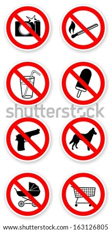 sticker of prohibited symbols with light shadow