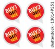 Sticker or Label For Marketing Campaign, Buy 1 Get 1 Free, Buy 2 Get 1 Free, Buy 3 Get 1 Free and Buy 3 Get 2 Free With Red Icon Isolated on White Background - stock photo