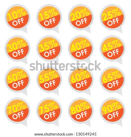 Sticker or Label For Marketing Campaign, 10-90% Off With Orange Icon Isolated on White Background - stock photo