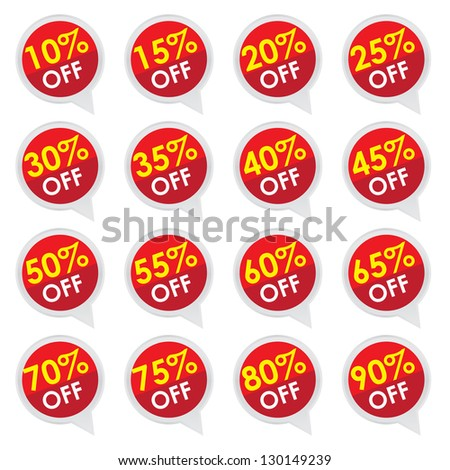 Sticker or Label For Marketing Campaign, 10-90% Off With Red Icon Isolated on White Background - stock photo