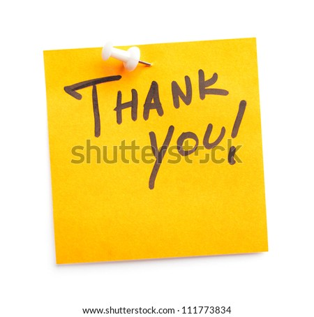 Sticker with text Thank you on it, isolated on white background