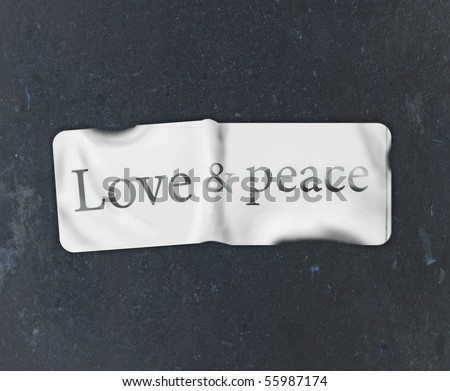 "sticker with the inscription ""Love and Peace"""