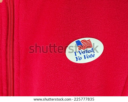 sticker you receive after placing your vote for political candidates on a jacket - stock photo
