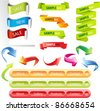 Stickers and banners colorful illustration set. Raster version. - stock vector