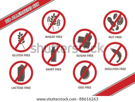 Stickers for allergen free products, such as gluten free, lactose free, wheat free, dairy free, sugar free, nut free, egg free and shellfish free.  Done in 'no smoking' style symbols.