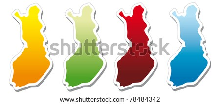 stickers in form of Finland - stock photo