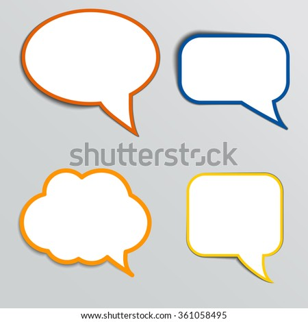 Stickers in form of speech bubbles illustration. - stock photo