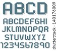 Stickers of alphabet letters and numbers.  Raster version - stock photo