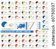 stickers with all european states flags, names end abbreviations isolated on white, clip-art illustration. Vector format is also available in my gallery - stock vector