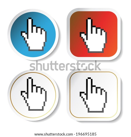 stickers with cursor of hand