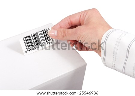 sticking barcode label on white box