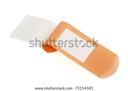 Sticking plaster isolated on white background - stock photo
