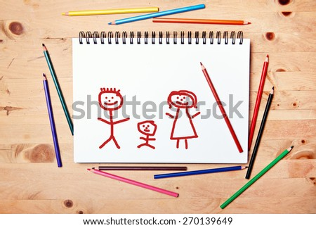 stickman background - drawing block - happy family - stock photo
