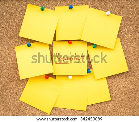 Sticky blank note resolutions for new year with space for text. - stock photo