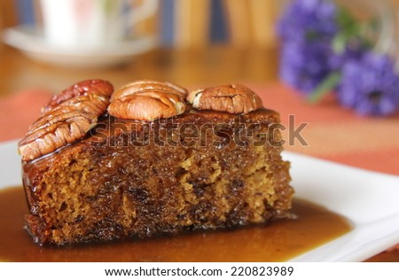 Sticky Date Pudding with Butterscotch Sauce 1 - stock photo