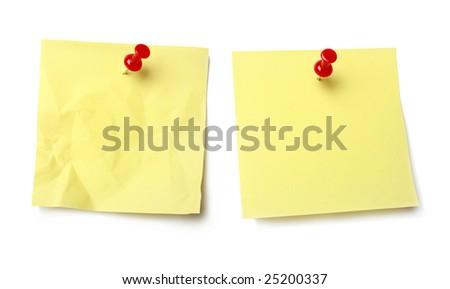 Sticky note held by a pushpin waiting for your message. - stock photo