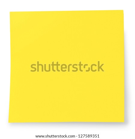 Sticky note isolated on White with CLIPPING PATH - stock photo