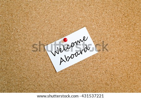 Sticky Note On Cork Board Background And Text Concept - stock photo