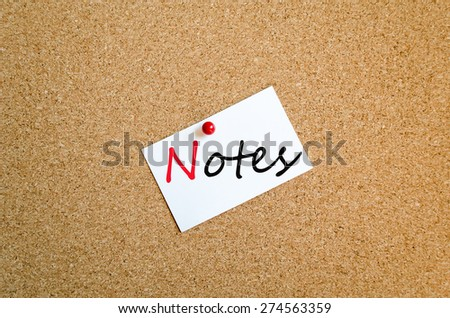 Sticky Note On Cork Board Background Notes Concept - stock photo