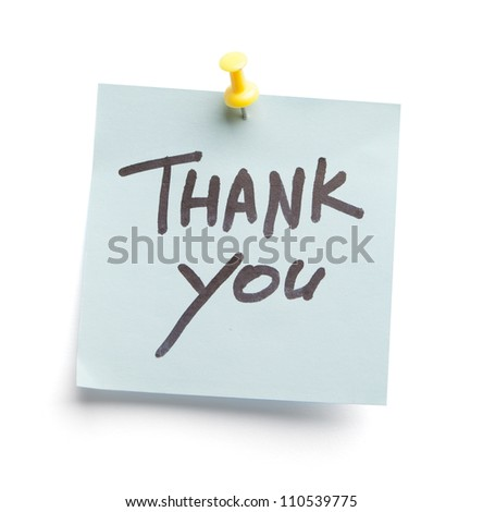 Sticky note with text Thank you on it, isolated on white background - stock photo