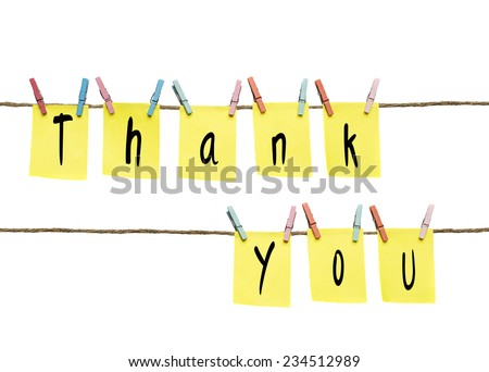 sticky note with thank you - stock photo