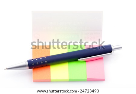 Sticky notes and pen - stock photo