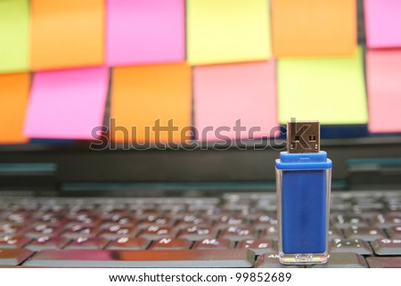 Sticky Notes Computer laptop user ad to JOIN a subscription website copyspace for text or graphic - stock photo