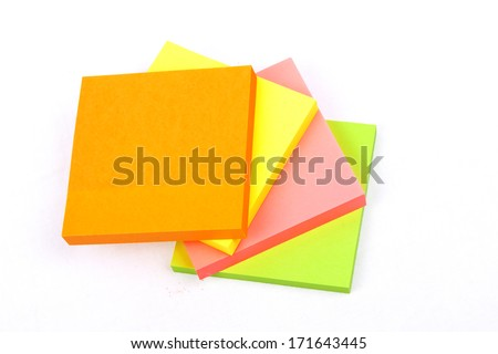 Sticky Notes Cube isolated on a white background - stock photo