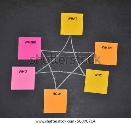 Sticky notes in brainstorming session - stock photo