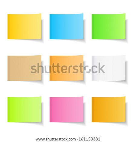 Sticky notes, nine different colors