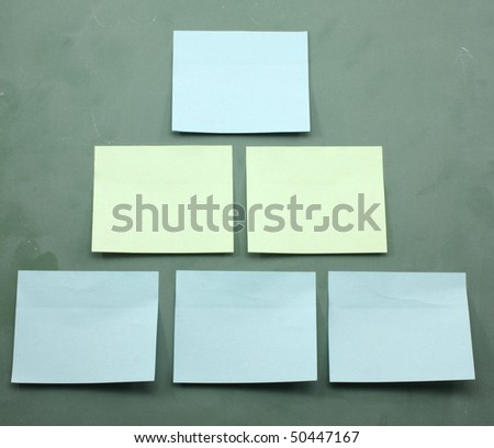 Sticky notes on a blackboard in a pyramid that could be used as an organization chart.
