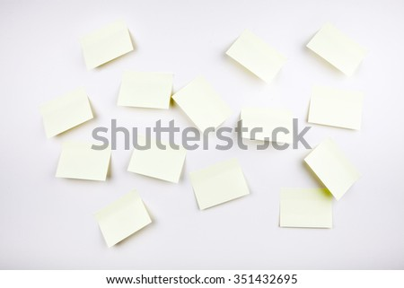 sticky notes on wall - stock photo
