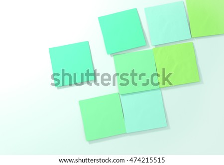 Sticky notes on white background. 3D illustration.