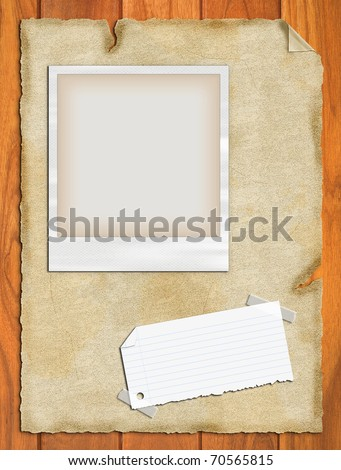 sticky notes , paper and photo , picture frame on background - stock photo