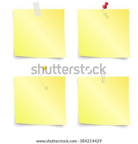 Sticky Notes - Set of yellow sticky notes isolated on white background. illustration Raster version